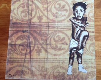 Bettie Lou Williams Parasitic Twin mounted print on wood