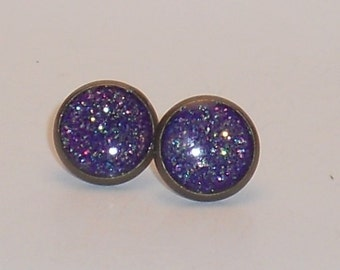 Mermaid Purple, Glitter 10mm Post Earrings, Fake Plugs