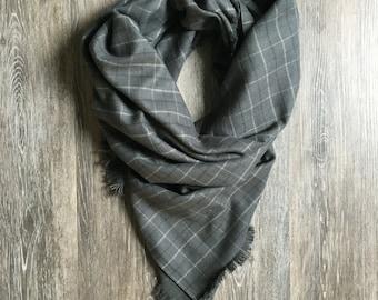 Gray Plaid Blanket Scarf, Smoky Gray Blanket Scarf, Gray Blanket Scarf, Blanket Scarf, Plaid Blanket Scarf, Plaid Scarf, Scarf