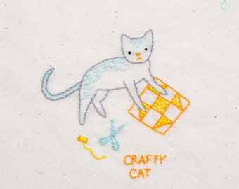 Crafty Cat INSTANT DOWNLOAD PDF embroidery pattern