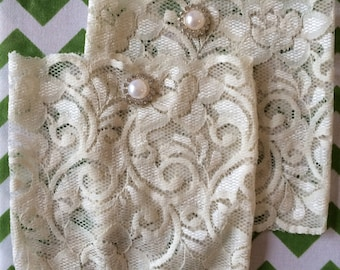 Ivory Lace Boot Cuffs with rhinestone and pearl button