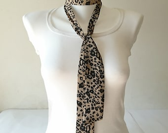 "Leopard Print Skinny Scarf, 57""x2"", Brown Black Neck Tie, Long Thin Scarf with Angled Ends, Chiffon Choker, Headband, Spring Summer Fashion"