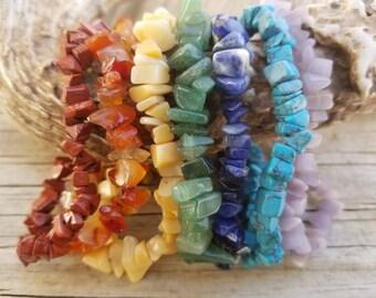 7 Chakra Beaded Stretch Bracelets - 7 Chakra Gemstone Chip Bracelets