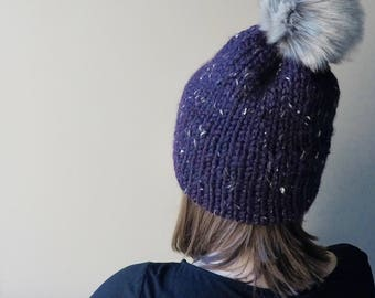 Purple Double Brim Beanie x Knit Hat x Knit Purple Hat