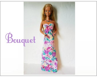 SUPERSIZE 18 in  BARBIE Doll Clothes - BOUQUET Gown and Jewelry - custom fashion by dolls4emma
