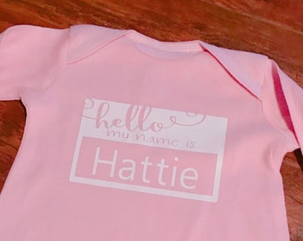 Baby Gown Name Tag-Newborn NameTag- My Name Is Babh Gown- Infant Baby Gown