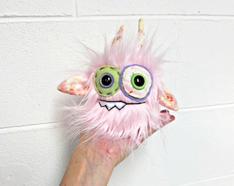 Monster Plush - Handmade Minor Monster Plushie - Soft Pink Faux Fur - OOAK Mini Monster - Small Monster Plush - Weird Monster Soft Toy Plush