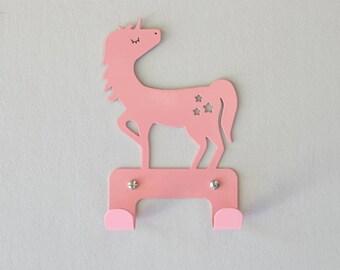 Metal coat rack, animal hooks for kids, girls bedroom decorative wall hanger, White nursery  Unicorn décor, jewelry hanger organizer