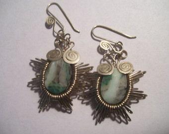 Sun Burst Handmade Wire Art and Stone Earrings