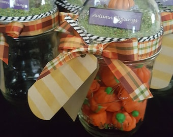 Mason Jar Gift Container--Hand made Diorama for Autumn, Thanksgiving, Fall