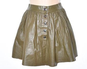 "Vintage Green Leather Pleated Skater Short Mini Skirt Size UK6 L15"""