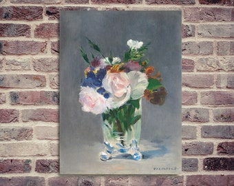 Still life. Edouard Manet. Bouquet of flowers. Abstract painting.