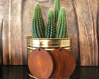 Rustic Brown Boho Natural Wooden Earrings