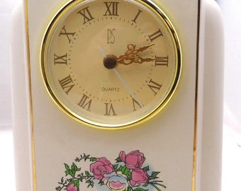 Porcelain Mantle Clock White With Pink Roses 1996 Limited Edition Quartz 6 Inches Tall 5 In Wide