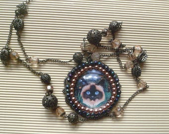 large baroque necklace with cat: Burma sacred in the jungle