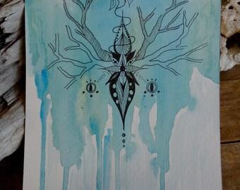 Carte postale grand format nature bleue