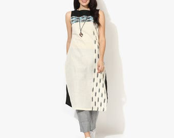 Sleeveless Boat Neck Two Ikat Kurta