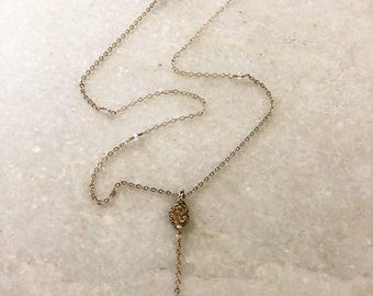 Rainbow Moonstone and gold necklace