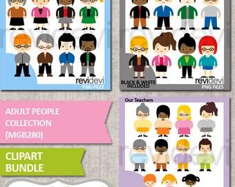 People clipart bundle sale, adult man woman clip art, high school teachers digital graphics download, commercial use