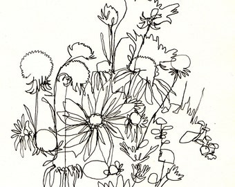 Art Print-Blind Contour Wildflowers Drawing