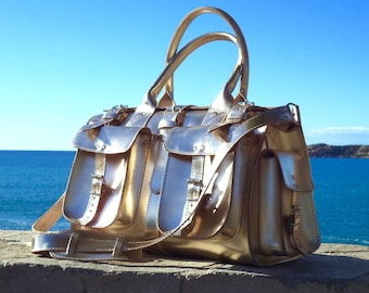 Small leather duffle bag / Travel bag / Weekender / Sac voyage / Women leather gold duffle bag