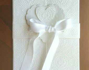 Wedding / Engagement / Anniversary Handmade Card - 5x7 inches - Embossed Creamy White Cardstock - Gatefold closes with White Satin Ribbon