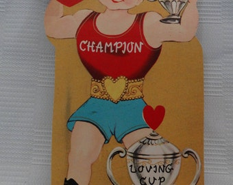 Vintage 1950's Unused School Style Valentine Card/Weight Lifter/I Have The Strongest Love/Pun/Made In U.S.A.
