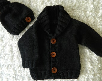 EXPRESS SHIPPING!!! Knit Handmade Black Baby Boy Toddler Little Man Hat and Cardigan Set Shawl Collar Bamboo and Acrylic Yarn Wooden Buttons