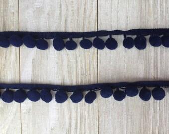 NEW Pom Pom Trim NAVY BLUE-2 yards-1/2 inch Ball