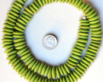 125 African Recycled Glass Disc Saucer Beads - Powder Glass Beads from Ghana - Various Colors - 26 Inch Strand