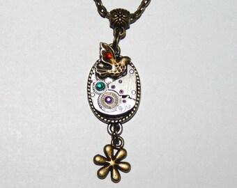 Steampunk Pendant, Steampunk Necklace, Jewelry, Resin, bird, vintage watch parts, antique, Mechanical Watch Movement #et 603