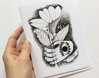 art card - FLOWER IN HAND / greeting card / black and white / 5x7 art / pen & ink / drawing / hamsa / evil eye