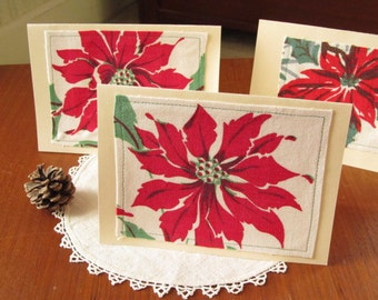 Christmas Flower Greeting Cards, Holiday Greeting Cards, Holiday Note Cards, Handmade, Unique Christmas Notes,nonreligious, NCA739