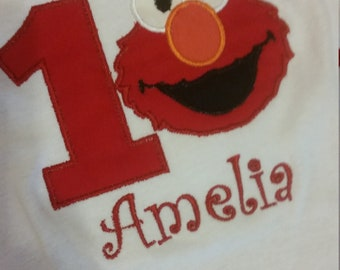 Ships within 3 days baby toddler girls elmo birthday shirt red monogrammed with name and age