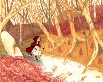 Little Red Riding Hood, the Huntress A4 print. 29 x 21 cm