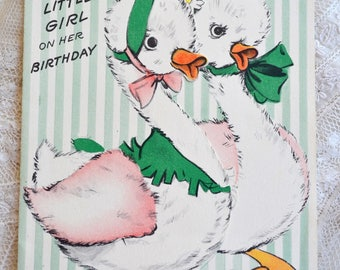 Vintage Birthday Card - To Little Girl Geese Goose - Used