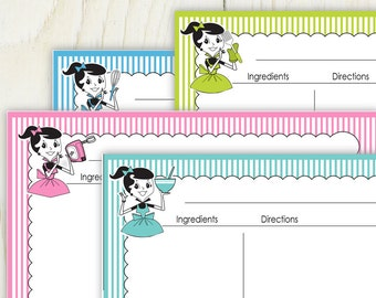 Retro Girl 4x6 Recipe Cards No 837a - editable recipe cards