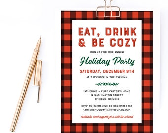 Eat Drink and Be Cozy Holiday Invitation, Christmas Party Invitation, Company Holiday Party Invitation, Corporate Holiday Event Invitation