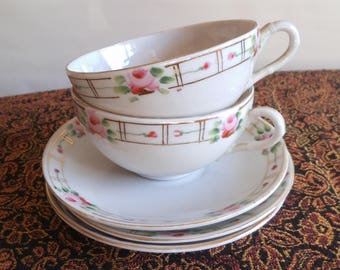 Tea for Two Vintage Nippon Cup and Saucer Sets with Extra Saucer for Cookies Hand Painted Pink Roses and Gold Trim on White Porcelain 8177c