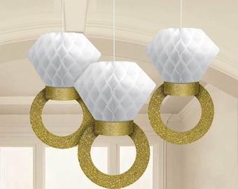 Honeycomb Engagement Ring Decorations - Bridal Shower Decor - Bachelorette Party Decor - She Said Yes - Wedding Ring - Hanging Decorations