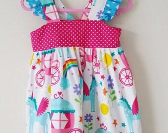 Unicorn dress, rainbow dress, unicorn party, summer clothes, kids clothing, uk