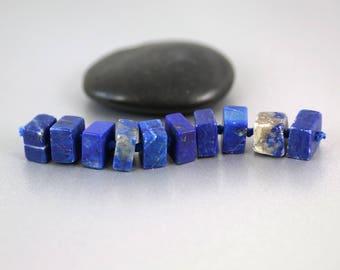 Lapis Lazuli Beads - Set of 10 - Lapis Beads - Smooth Blocks