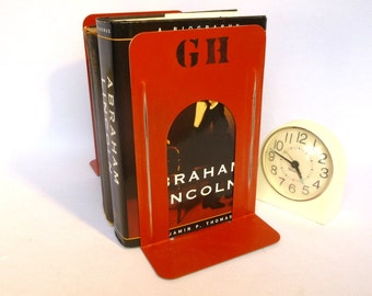 CUSTOM MONOGRAM BOOKENDS/ Recycled Metal Industrial Bookends in Chinese  Red