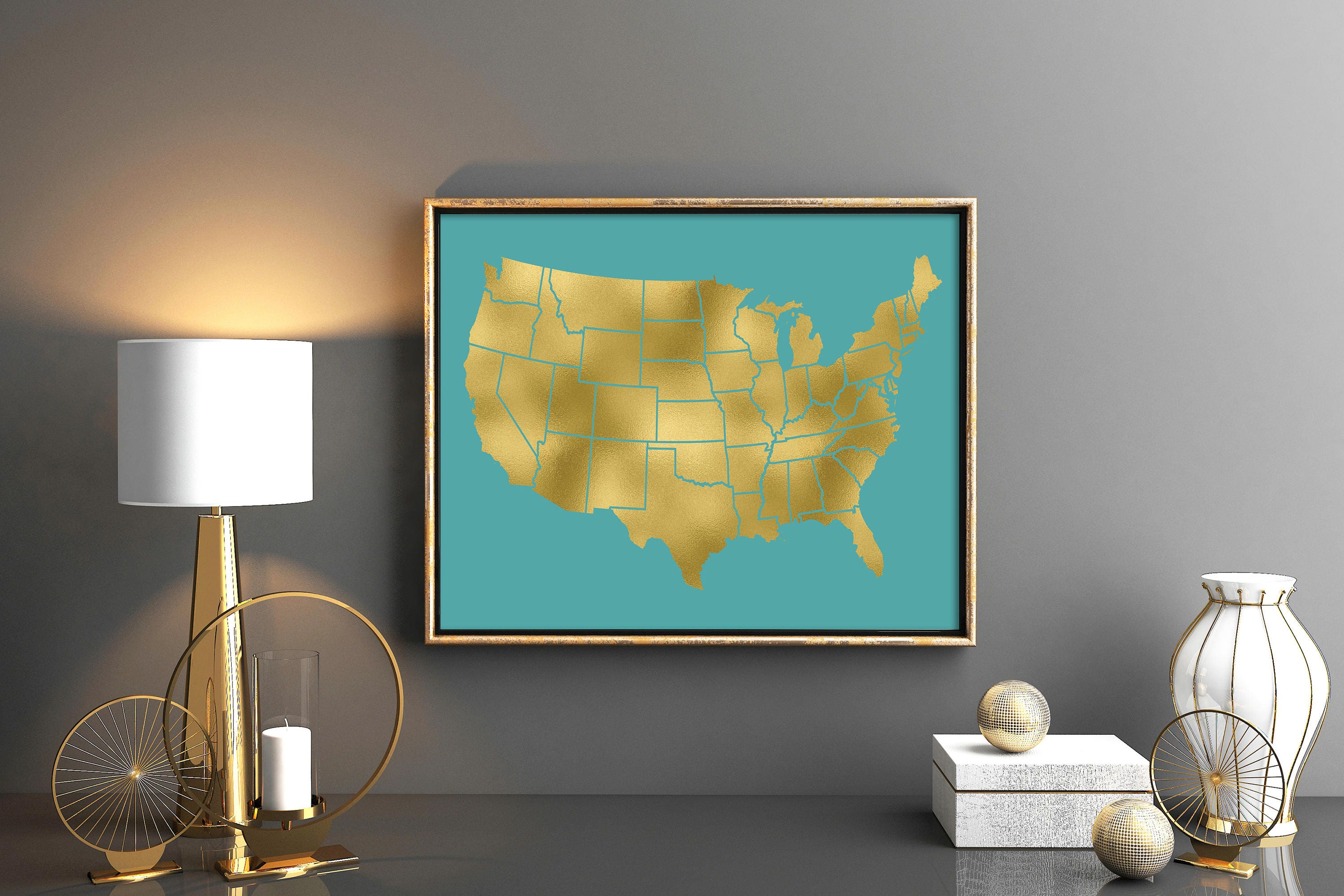 Teal and gold room decor Gold USA map Gold US poster Printable