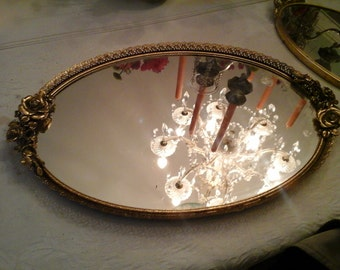 Large vintage gold roses vanity tray
