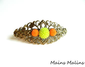 Apple green orange dahlia flowers bronze filigree Bobby pin