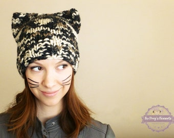 Cat Ears Hat, Kitty Cat Hat, Cat Hat, Hand Knit Cat Beanie, Cat Ear Hat, Women's Knit Hat, Fall Fashion Accessories, Animal Ears Hat