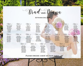 Custom photo seating chart, wedding seating assignments, printable digital sign, table assignment chart personalized photo seating plan