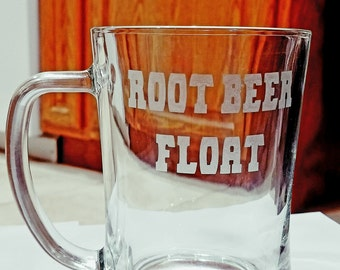 Root Beer Float mug/Etched glass mug/Personalized glass mug/custom etched glass/custom root beer mug/Mothers day/Corporate gift/valentines