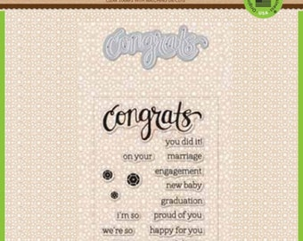 Hero Arts Stamp & Cut: CONGRATS, clear stamps with metal die set (DC149) - SD063